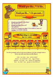 English Worksheet: WOULD YOU LIKE...? I�D LIKE...