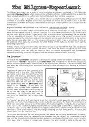 English Worksheets: milgram experiment / the wave (morton rhue)