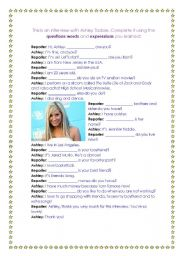 English Worksheets: Interview with Ashley Tisdale - Question words and expressions