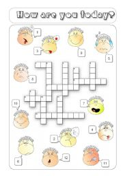 English Worksheet: How are you Crossword