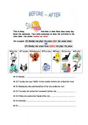 English Worksheets: Adverbs of Time - before & after