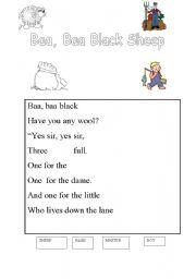 English Worksheets: Baa baa sheep