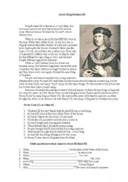 king richard iii essay questions Richard iii essay questions critical essay date, style and theme in richard iii when the duchess of york and queen elizabeth berate king richard in.