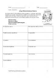 English Worksheet: Using a variety of sentence patterns