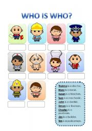 Who is who? - Jobs - ESL worksheet by evelinamaria