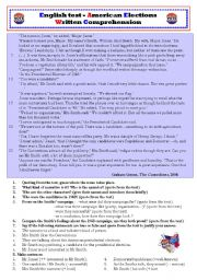 English Worksheets: American Elections 2 - Written Comprehension