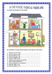 English Worksheets: IN THE HOUSE: THERE IS/ THERE ARE