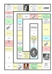 Simple Past - Was/were Board Game (famous people)