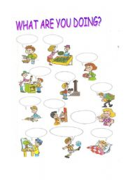 Vocabulary worksheets > Actions > what are you doing?
