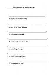 English Worksheets: How to make questions to given answers