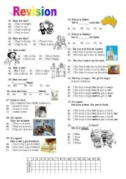 English Worksheets: Revision: Feelings/verb to be/preposiotions/question words...