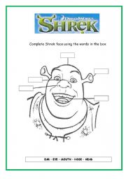 English Worksheet: Shrek´s face