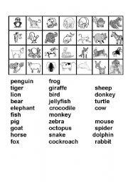 English Worksheets: Bingo - Animals