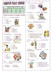English Worksheet: Simple Past Tense test