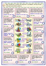 English Worksheet: Sports and equipment - 3 skills (part 2 of 2)