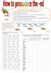English Worksheet: How to pronounce the -ed