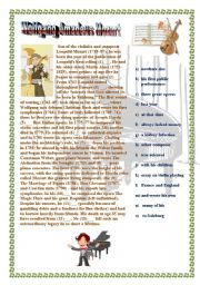 English Worksheets: Famous musican - Mozart. biography - gap fill (2nd page with KEY)