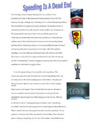 English Worksheets: Speeding is a Dead End