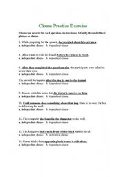 Printables Independent And Dependent Clauses Worksheet independent and dependent clause