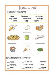 English Worksheet: FOOD / INDEFINITE ARTICLE