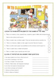 English Worksheets: IN THE CLASSROOM/ THERE + BE