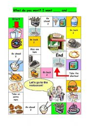 English Worksheets: Board Game: What do you want? I want ...and ....