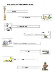 English Worksheets: This/these + animals