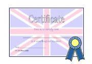 English Worksheet: Good English Student Certificate