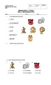 English Worksheets: TEST ON WILD ANIMALS AND PETS