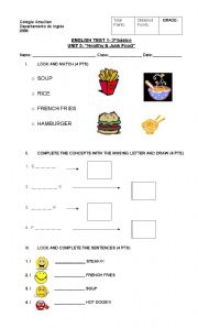 English Worksheet: test on healthy and junk food, likes and dislikes