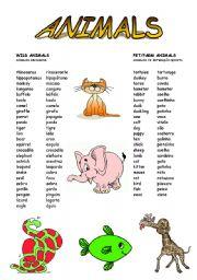 English Worksheet: Wild, pet and farm animals