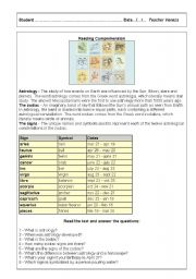 English Worksheets: Astrology - part 1