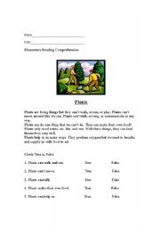 English Worksheet: Reading Comprehension: Plants