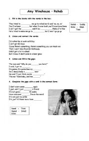 English Worksheet: Song Rehab - Amy Winehouse