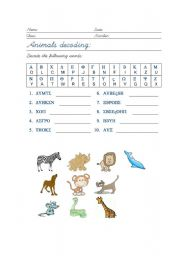 English Worksheets: Animals Decoding