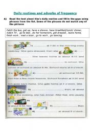 English Worksheet: Daily routives and adverbs of frequency