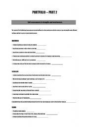 english worksheets portfolio strengths weaknesses. Black Bedroom Furniture Sets. Home Design Ideas