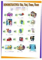English Worksheet: Demonstratives: this, these, that, those