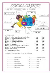 English Worksheets: THERE IS /THERE ARE - PREPOSITIONS - SCHOOL OBJECTS