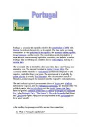English Worksheet: Reading comprehension+ wh-questions with Portugal