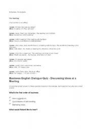 English Worksheets: the meeting