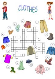 English Worksheet: CROSSWORD CLOTHES