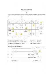 English Worksheet: Weather Report