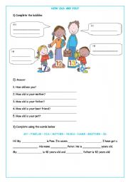 English Worksheet: HOW OLD