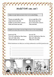 English Worksheet: Modal Verb: can & can�t
