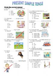 English Worksheet:  present simple  tense test