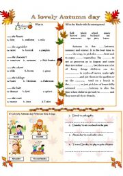 English Worksheets: A LOVELY AUTUMN DAY