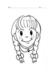 English Worksheets: girl�s face