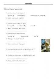 English worksheet: a class survey on media