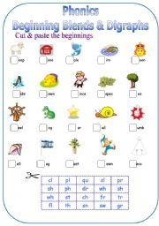 English Worksheet: Phonics-Beginning Blends & Digraphs
